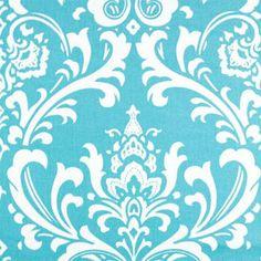 Drapery Fabric, Upholstery Fabric, TurquoiseWhite Fabric, Traditional PillowFabric, CottonDuck Fabric, Decorative Fabric, Fabric By The Yard