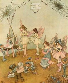Illustration by Ida Rentoul Outhwaite. Inspiration for my fairy clothes. Maybe use organza with ribbon roses attached. Fairy Pictures, Vintage Fairies, Love Fairy, Fairytale Art, Beautiful Fairies, Flower Fairies, Fairy Art, Magical Creatures, Children's Book Illustration