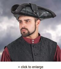 Pirate King Leather Tricorn Hats is fit for the true king of pirates! Made of rich leather, it is fully adorned with matching die-cut leather trappings and material fringe. Pirate Fashion, Big Men Fashion, Pirate Costume Accessories, Pirate Hats, Pirate Clothes, Pirate Wedding, Pirate Halloween Costumes, Rugged Look, Leather Hats