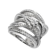 Stephen Webster Forget Me Knot Band ring set in 18ct white gold with white diamonds