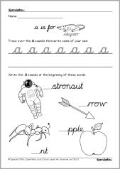 Alphabet formation worksheets a-j (cursive) (SB350) - SparkleBox