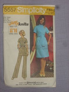 Vintage 1973 Simplicity 5557 Knit Dress or Tunic and Pants, Miss Petite cut Knit Picks, Easy Knitting, Vintage Sewing Patterns, The Ordinary, Knit Dress, Tunic, Nook, Pants, Shirts