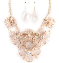 Floating Glass Meagan Necklace & Earrings ♥