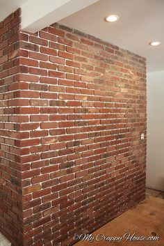 Do it yourself brick veneer backsplash sunroom bricks and tutorials my crappy house shows many do it yourself projects tackled by a single woman installing a brick wall solutioingenieria Images