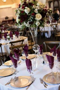 Burgundy and Gold Wedding Décor - Cross Back Wood. Burgundy and Gold Wedding Décor – Cross Back Wood Chairs – The Covenant at Murray Mansion Burgundy Wedding Theme, Purple And Gold Wedding, Gold Wedding Colors, Burgundy Wedding Invitations, Burgundy And Gold, Purple Wedding Centerpieces, Wedding Reception Decorations, Floral Centerpieces, Wedding Ideas