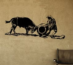 Horse-Rodeo bull fighter-wall decal, Rodeo sticker 48 inches x 19 inches. 824-HR