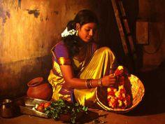 Tamil girl making garland - Painting by S. Elayaraja #MyStateWithJaypore