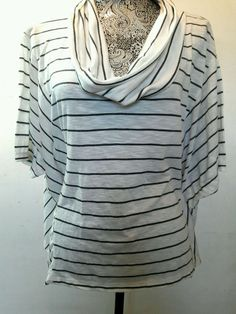 INC NAUTICAL DOLMAN TOP COWL NECK LIGHTWEIGHT XL WHITE GRAY STRIPED STRETCH BOHO #INCInternationalConcepts #Blouse #Casual