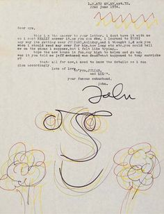 Letter, typed, signed and illustrated by John Lennon; sent to his first wife…