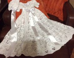 Heirloom vintage style christening gown. This pattern is for the serious crochet maker. This is an instant download, pdf file pattern. The skirt