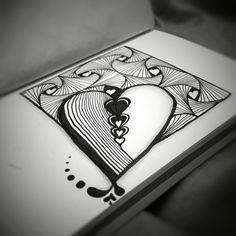 Zentangle hearts & rick's paradoxs black, white