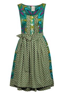 African Bavarian dirndl dress by Noh Nee with green flower print