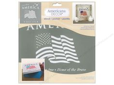 "DecoArt Americana Decor Stencils have pre-cut designs on flexible plastic that simply need to be painted onto any project. It is as easy as 1-2-3. Basecoat the project, position the stencil and apply paint. These durable stencil can be used over and over. American Tribute Stencil has the image of a fluttering American flag in the center with ""God Bless America"" at the top and ""Land of the free, Home of the Brave. Since 1776"" below. Great for 4th of July projects. 12 x 12 ..."
