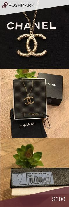 """AUTHENTIC CHANEL CC LOGO EMBOSSED PENDANT NECKLACE 2010 Chanel Necklace with embossed CC's  Color Gold hardware with embossed CC logo design  Measurement Can be worn as 16"""" in length, or 24"""" in length CC logo measures 2.5 cm x 2 cm  Included: Necklace Chanel box with original sticker Price tag Authenticity tag Chanel dust bag CHANEL Jewelry Necklaces"""
