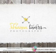 Premade Photography Logo  Hand Drawn Heart Arrows by autumnscreek, $40.00