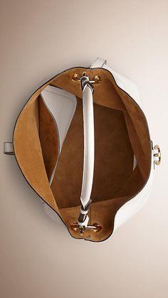 Natural Medium Buckle Detail Leather Hobo Bag - Image 5