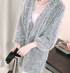 Cheapest Sweater Fashion Long Cardigan Sweater Loose Coat Grey