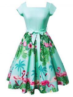 Flamingo and Floral Print Square Neck Vintage Dress