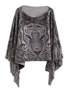 Anermy Women Fashion Tiger Print Batwing Sleeve Tassel Poncho shawl Jumper Sweater Grey * You can find out more details at the link of the image.Note:It is affiliate link to Amazon.