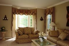 Formal Living room with Kingston Valances and sheers by Soulscape