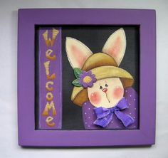 Spring Time Bunny, Welcome Sign with Bunny, Tole Painted and Framed in Purple, Hand Painted on Fiberglass Black Screen - pinned by pin4etsy.com