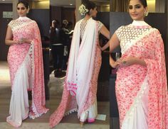 Sonam Kapoor Half and Half Saree at National Bravery Awards  #shopnow #onlinestore #buynow #onlineshopping #peachmode #anarkali #sangeetaghosh #magentapink #indiananarkali #anarakls #indian #onlinefashion #khantil