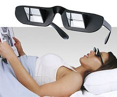 Lol! The Lazy Prism Glasses use a prism design to let you recline and look forward at the same time. Looks ridiculous, but I wouldn't mind a pair for long periods of reading. xD