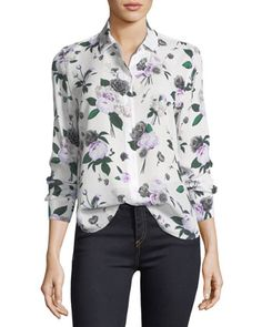 Leema+Floral-Printed+Silk+Blouse+by+Equipment+at+Neiman+Marcus.