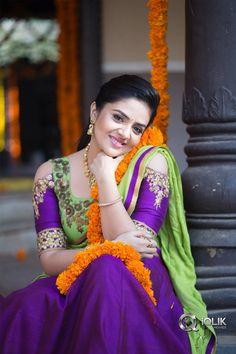 SreeMukhi in half saree stills. Kollywood actress/anchor Sreemukhi latest photoshoot still in half saree. Beautiful Girl Indian, Beautiful Girl Image, Most Beautiful Indian Actress, Beautiful Saree, Beautiful Actresses, Beautiful Women, Beautiful Models, Beautiful Eyes, Cute Beauty