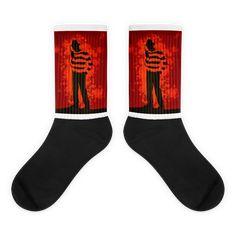 Freddy Krueger Nightmare on Elm Street Socks Awesome Socks, Cool Socks, Nightmare On Elm Street, Freddy Krueger, Us Man, Bold Colors, Artwork Prints, Nike Air, Horror