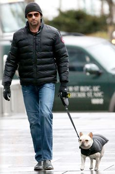 Hugh Jackman and his puppy pal stepped out in matching puffer jackets! How adorable is that?! Too bad the dog wasn't wearing aviator sunnies like his owner too!