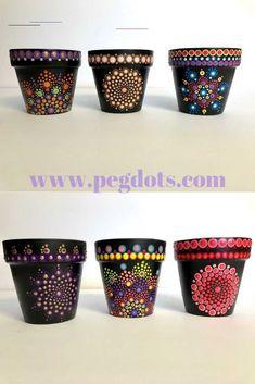 Original hand painted mandala style gifts & decor by PegDots - #flowerpot Flower Pot Crafts, Clay Pot Crafts, Rock Crafts, Painted Clay Pots, Painted Flower Pots, Hand Painted, Pottery Painting Designs, Rock Painting Designs, Indoor Flower Pots