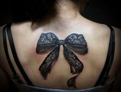 3d blac bow tattoo designs for girls