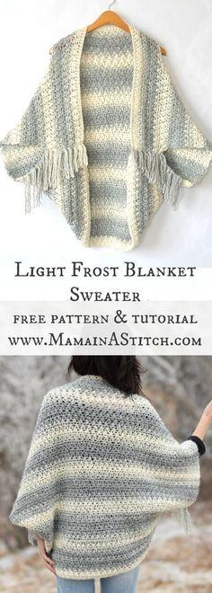 Light Frost Easy Blanket Sweater Crochet Pattern via @MamaInAStitch