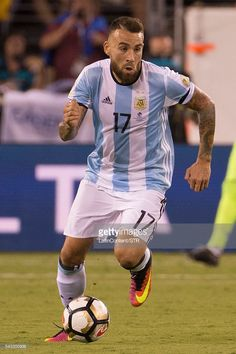 Nicolas Otamendi of Argentina in action during extra time in the championship match between Argentina and Chile at MetLife Stadium as part of Copa America Centenario US 2016 on June 26, 2016 in East Rutherford, New Jersey, US. Chile won the Copa America Centenario US 2016 Championship on in penalty shootout 4-2.