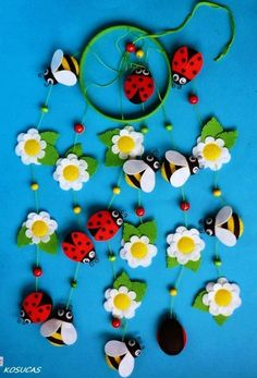 Natural DIY bead felt flower and insects mobile - home decor, felt flower mobile - LoveItSoMuch.com