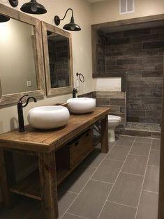 35 Awesome Rustic Bathroom Decor Design Ideas - Express Your Cozy Feeling Bathroom Towel Decor, Bathroom Red, Bathroom Fixtures, Small Bathroom, Bronze Bathroom, Bathroom Ideas, Rustic Bathroom Designs, Rustic Bathroom Decor, Rustic Bathrooms