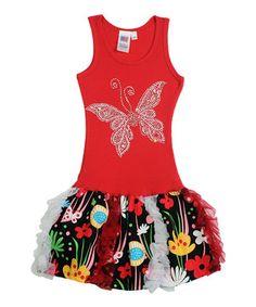 Look what I found on #zulily! Red Butterfly Dress - Toddler & Girls by Bubblegum Diva #zulilyfinds