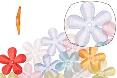 Flower mix color frosted acrylic beads 30xmm at $1.76/100G/84PCS, shop plastic beads at Beadingsupplys.com