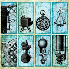 Printable Collage Sheet STEAMPUNK EPHEMERA 2x1in Blue Domino Tile Digital Download - no. 0020. $3.99, via Etsy.