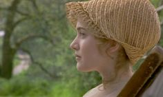 Sense and Sensibility 1996, Kate Winslet as Marianne wearing a capote bonnet.  Capotes, or scoop-shaped bonnets, were popular in the early Regency and first made their appearance in the 1790s.