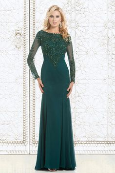 New Elegant 2016 Emerald Green Long Sleeves Mother Of The Bride Dresses Lace…