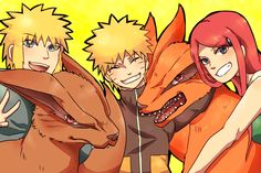 Minato Namikaze And Naruto | blonde_hair blue_eyes kurama_(naruto) namikaze_minato naruto naruto ...