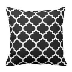 Moroccan Quatrefoil Black and White Pillow