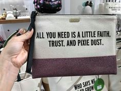 The shimmery new Kate Spade Disney Quote Handbags have made their sparkling debut at Disney Springs. These beautiful bags feature Disney inspired quotes, with a Diy Makeup Bag, Make Makeup, Kate Spade Disney, Kate Spade Quotes, Disney Outfits, Travel Outfits, Disney Style, Disney Disney, Disney Makeup