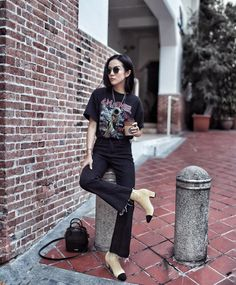 Band t-shirt, black pants & Chanel mid-heels @yoyokulala
