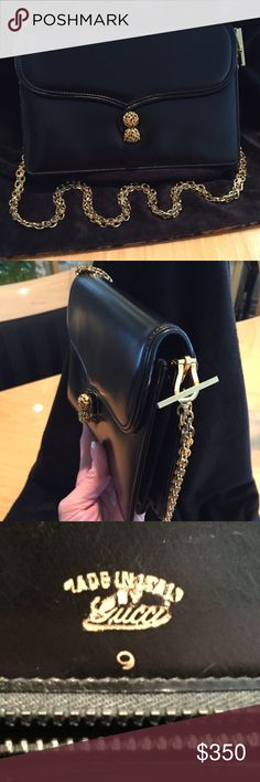 5d9bfef42004d GUCCI Vintage Leather Shoulder Bag  Clutch Authentic Gucci Vintage stunning  black leather gold chain shoulder