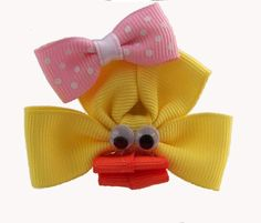 Yellow Duck Hair Bow Clip Ribbon Sculpture by CreationsByCharity