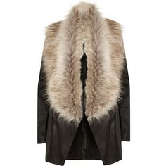 River Island Black faux fur collar fallaway jacket (€76) ❤ liked on Polyvore featuring outerwear, jackets, coats, coats & jackets, fur, faux fur collar jacket, fur jacket, river island jackets, river island and long sleeve jacket