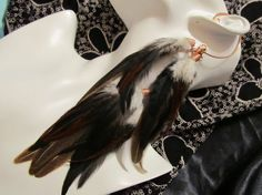 Dark Brown and copper feather ear wrap / feather hair extension / ear cuff on sale at my etsy shop... wolfmoondesigns